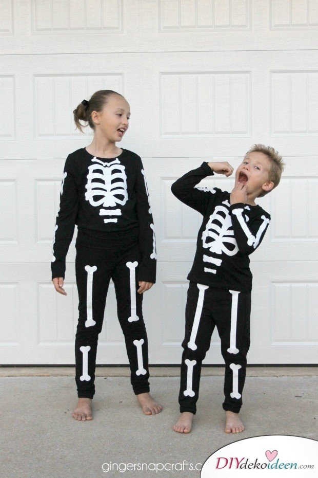11 Halloween Kostüm Ideen für Kinder - DIY Skelett Kostüm