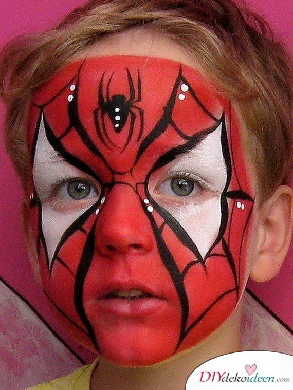 Halloween Schminkideen Kinder - 13 unheimlich tolle und einfache Ideen - Spiderman - Kinderschminken
