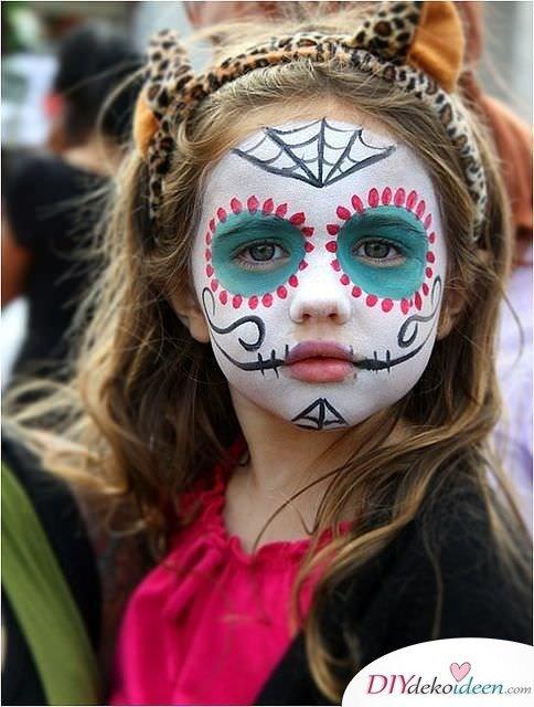 Halloween Schminkideen Kinder - 13 unheimlich tolle und einfache Ideen - Tag der Toten - Kinderschminken