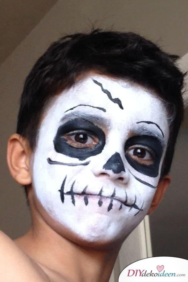 Halloween Schminkideen Kinder - 13 unheimlich tolle und einfache Ideen - Skelett
