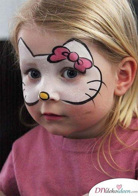 Halloween Schminkideen Kinder - 13 unheimlich tolle und einfache Ideen - Hello Kitty - Kinderschminken