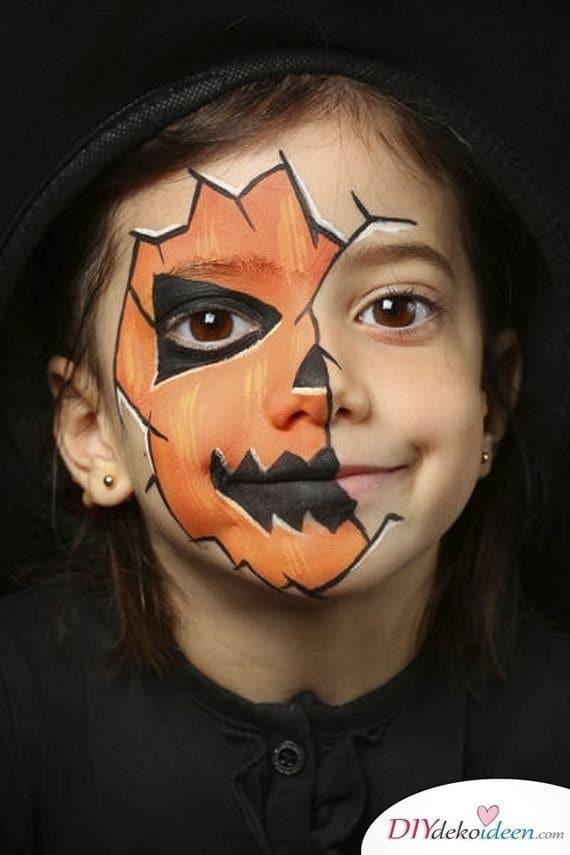 Halloween Schminkideen Kinder - 13 unheimlich tolle und einfache Ideen - Kürbislaterne - Kinderschminken