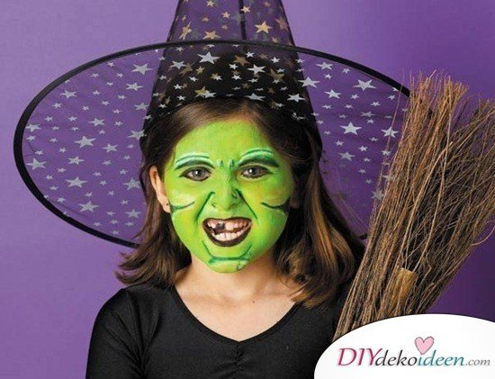Halloween Schminkideen Kinder - 13 unheimlich tolle und einfache Ideen - Hexe