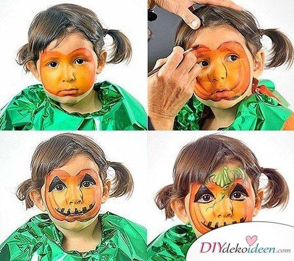 Halloween Schminkideen Kinder - 13 unheimlich tolle und einfache Ideen - Kürbis - Kinderschminken
