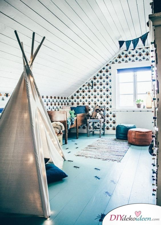 Dachbodenzimmer einrichten mit diesen tollen DIY Dekoideen - Indianerzelt Kinderzimmer einrichten