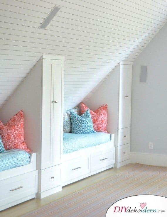 Dachbodenzimmer einrichten mit diesen tollen DIY Dekoideen - Zimmer platzsparend einrichten