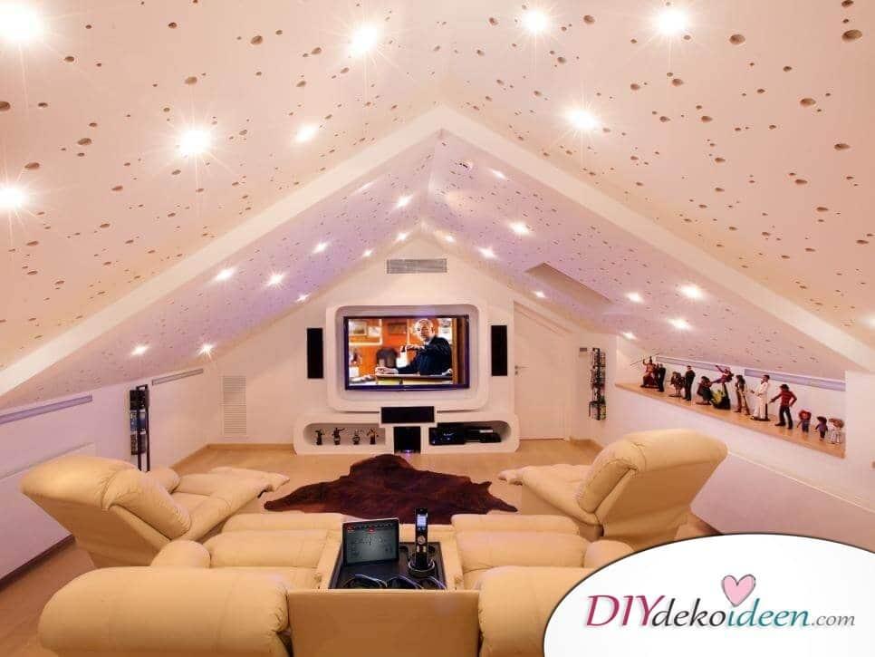 Dachbodenzimmer einrichten mit diesen tollen DIY Dekoideen - Kinoraum