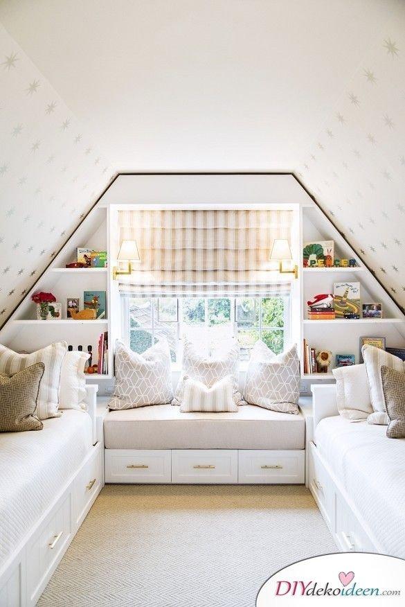 Dachbodenzimmer einrichten mit diesen tollen DIY Dekoideen - Sitzbänke