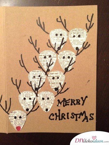 Kreative Weihnachtskarten basteln- Rudolph