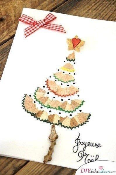 Kreative Weihnachtskarten basteln- Anspitzer-Reste Weihnachtskarte