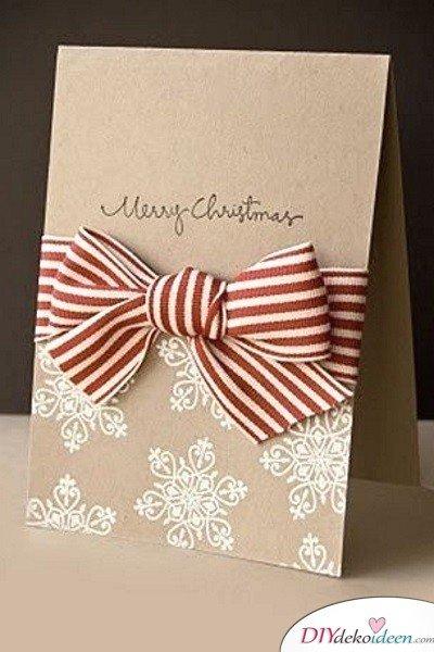 Kreative Weihnachtskarten basteln- Schleife