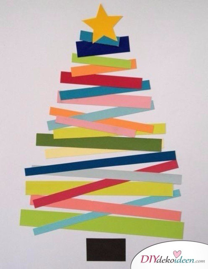 Creating Christmas Cards - Paper Stripes Christmas Tree