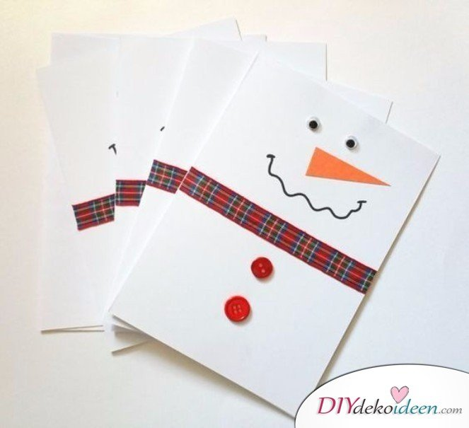 Kreative Weihnachtskarten basteln- Schneemann