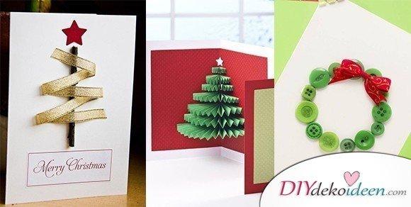 40 Originelle Weihnachtskarten basteln – Grußkarten Weihnachten