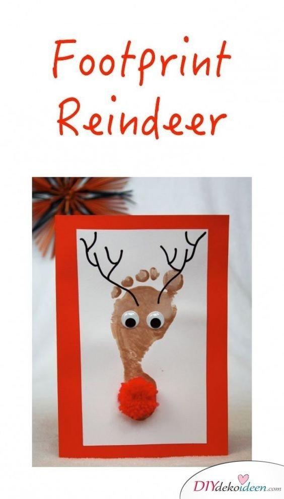 Fußabdruck Rentier - Weihnachtskarten basteln mit Kindern
