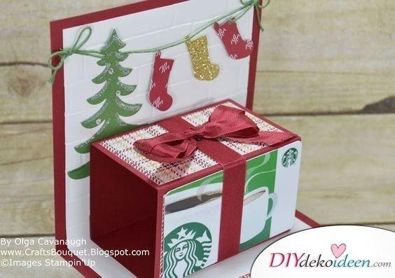Weihnachten Bastelideen - Geschenkschachtel Karten