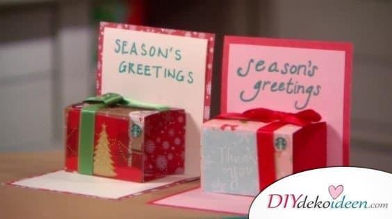 Weihnachten basteln - Geschenkschachtel Grußkarten