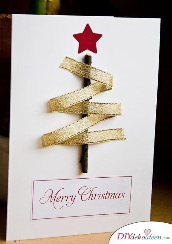 Tannenbaum Karten basteln für Weihnachten