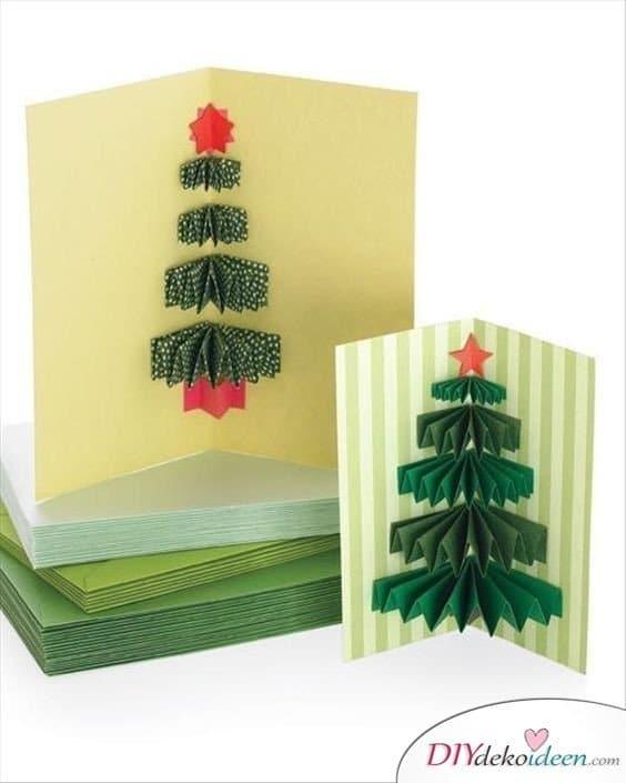 Tannenbaum Weihnachtskarten basteln