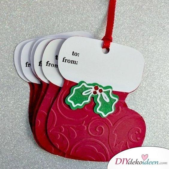 einfache Weihnachtskarten basteln Nikolausstiefel