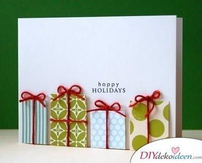 Weihnachtskarte schreiben mit Geschenkschachteln