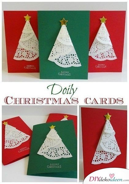 Weihnachtskarten selber gestalten mit Tortenspitzen