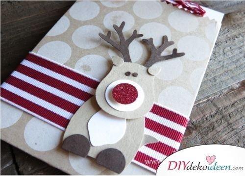 Grußkarten Weihnachten basteln mit Rentier