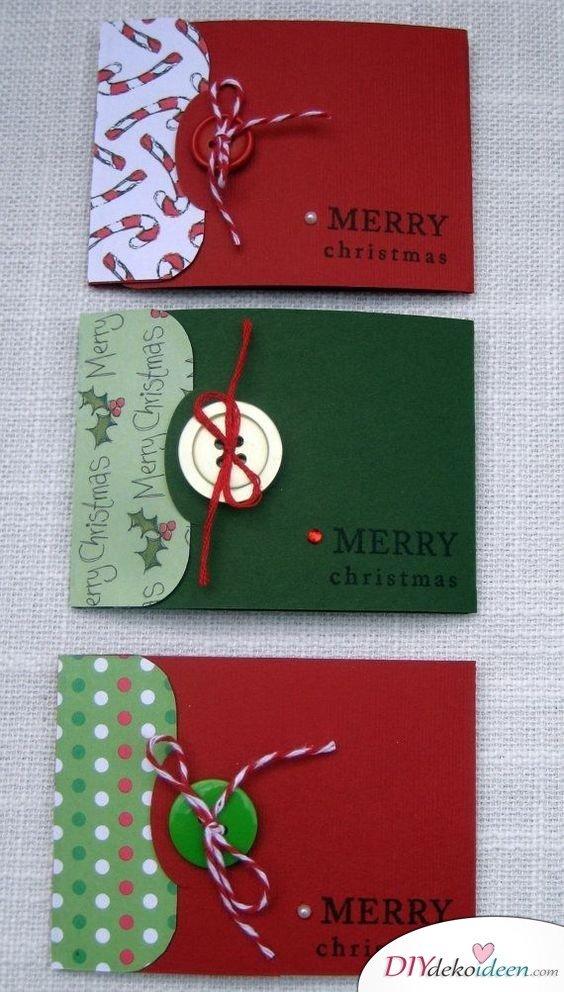 Grußkarten Weihnachten gestalten mit Knöpfen