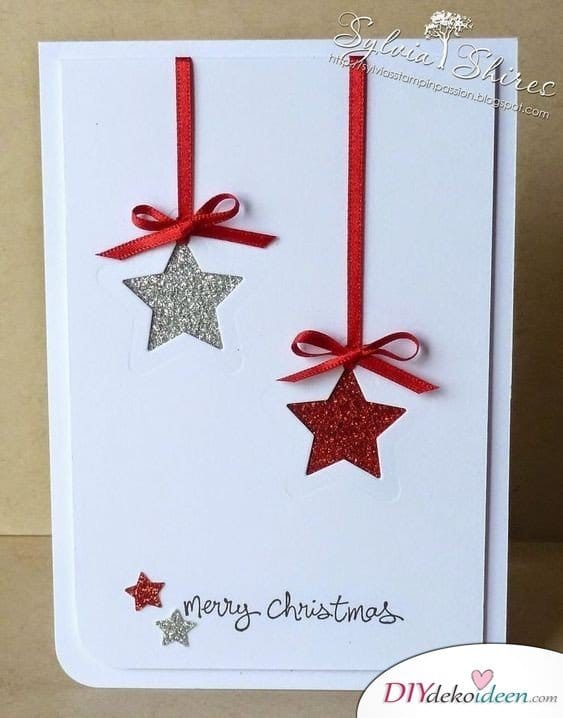 Stern Karten basteln zu Weihnachten