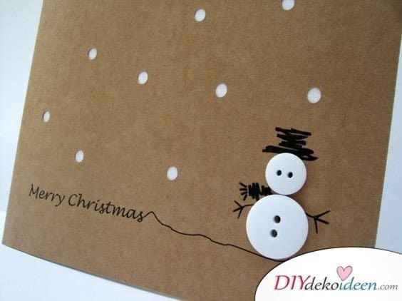 Schneemann Weihnachtskarten basteln