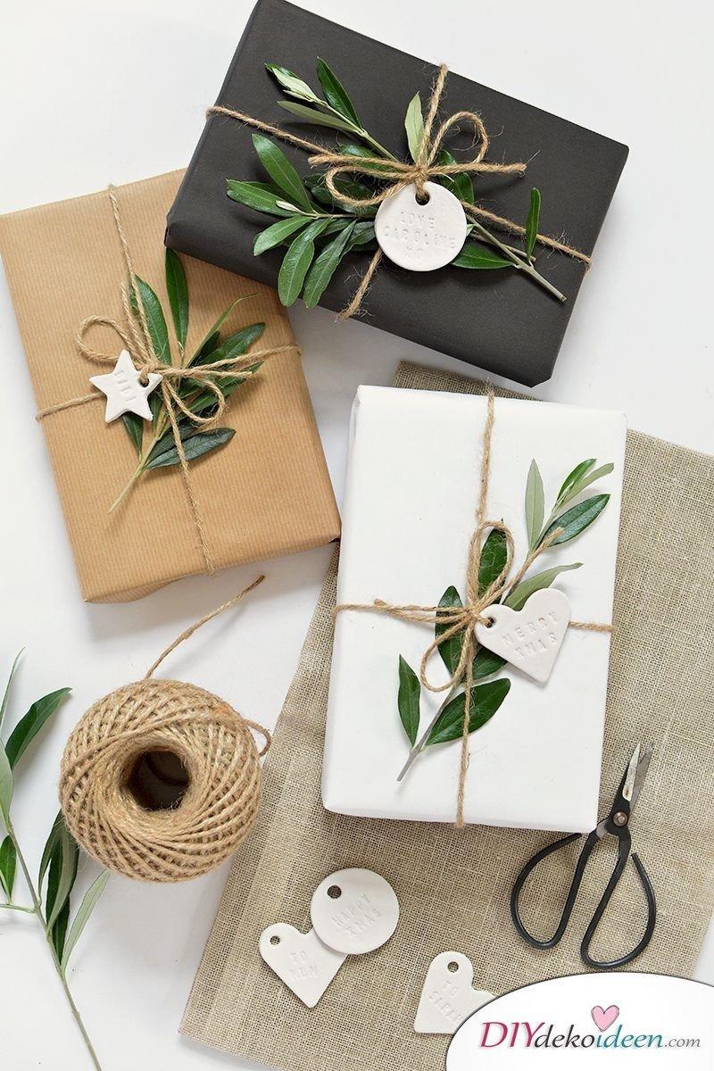 Geschenke Dekoideen mit Kraftpapier basteln