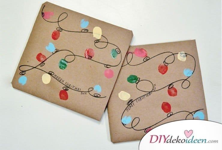 Geschenkpapier bemalen mit Lichterketten