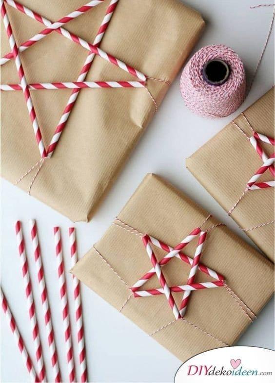 Geschenke weihnachtlich verpacken mit Strohhalmen