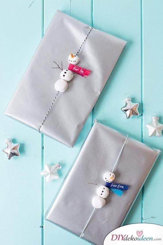 Schneemann basteln für Geschenkschachteln