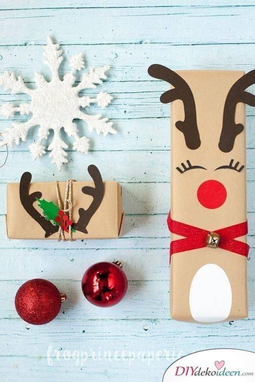 Rentier Geschenkverpackung - kreative DIY Ideen