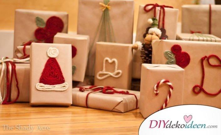 Tolle Verpackungen mit Kraftpapier zu Weihnachten