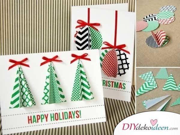 einfache Weihnachtskarten basteln