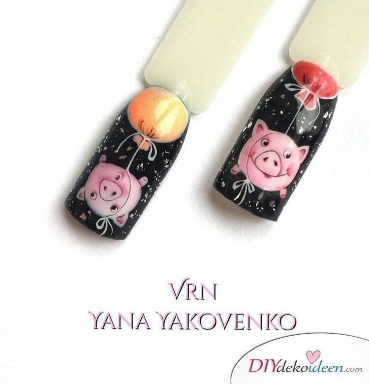 Silvester Nageldesign- Silvesterschweine