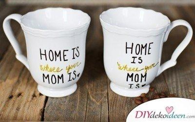 Selbstgemachte Weihnachtsgeschenk-Ideen- Kreative Tassen
