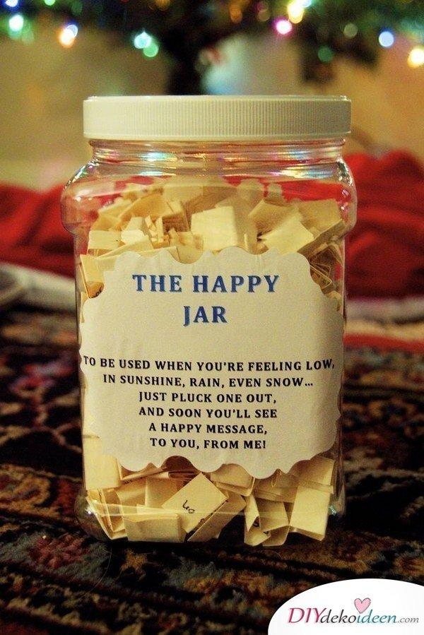 selbstgemachte Weihnachtsgeschenk Ideen- Happy Jar
