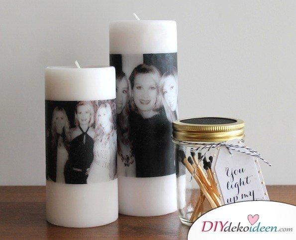 selbstgemachte Weihnachtsgeschenk Ideen- Kerze mit Fotos