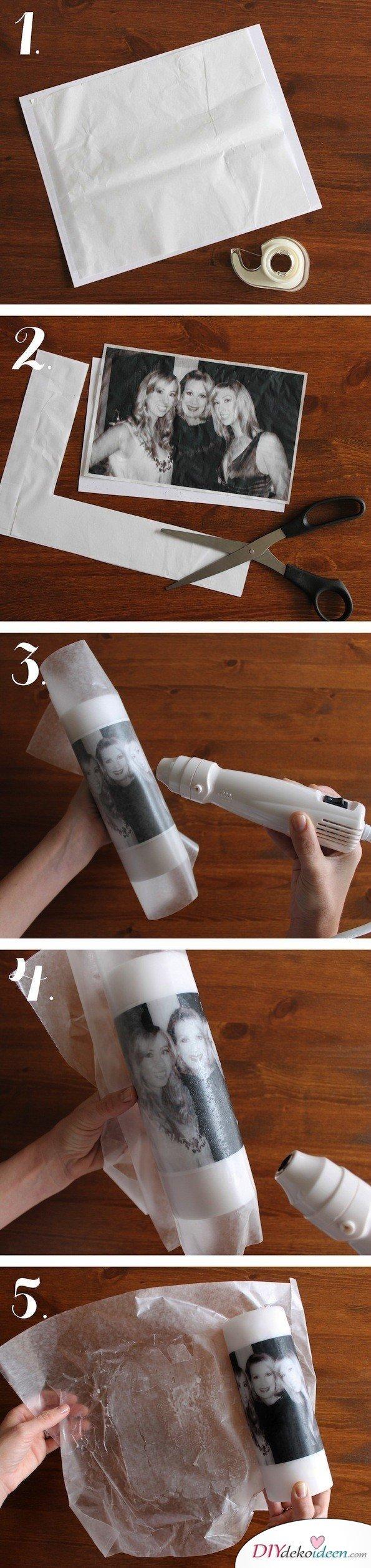 selbstgemachte Weihnachtsgeschenk Ideen- Kerze mit Bild