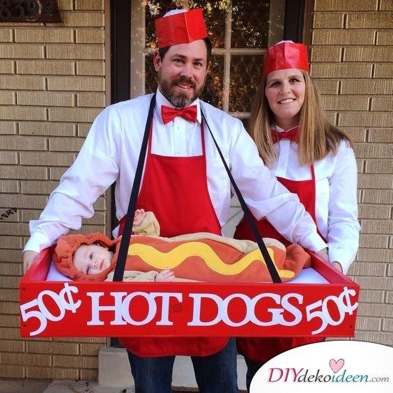Familienkostüme selber machen - Hot Dog Stand