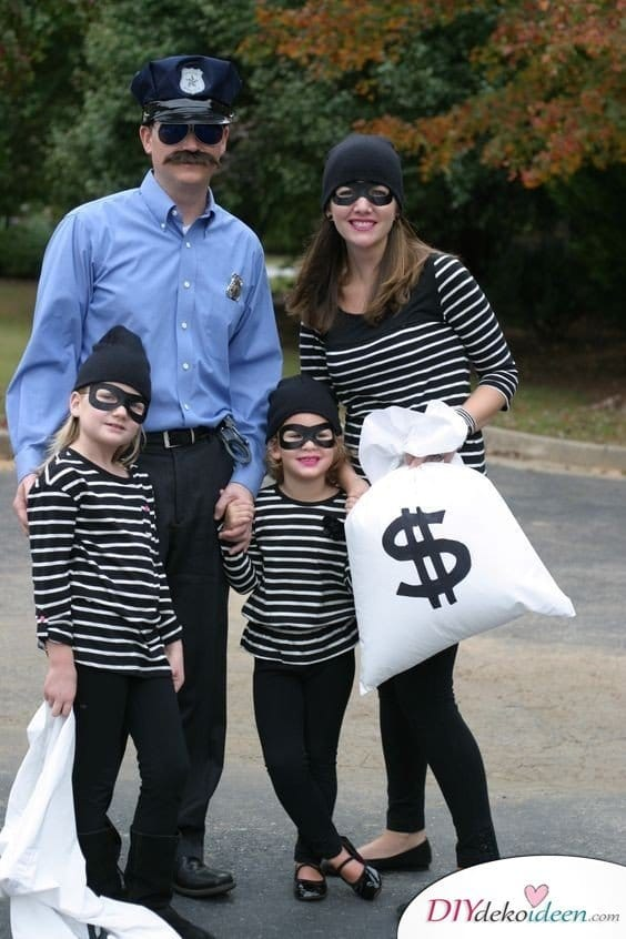 Faschingskostüm nähen - Bankräuber und Polizist