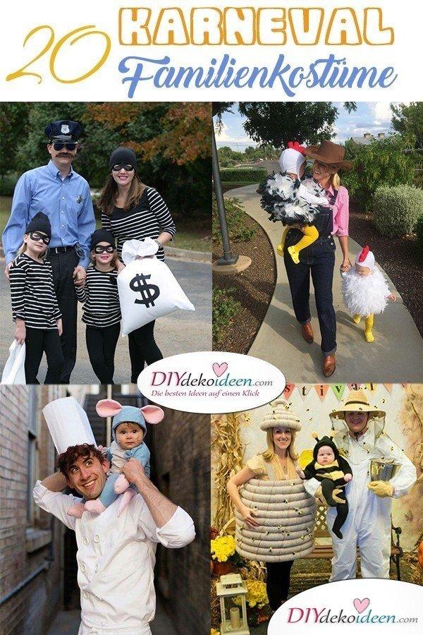 Familienkostüme selber machen für Karneval – 20 kreative Ideen