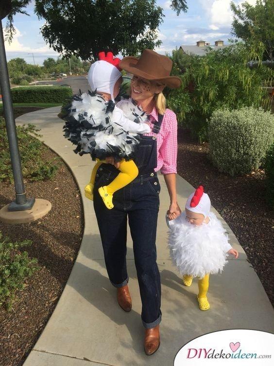 Karneval Kostüm Ideen für Familie - Hühner und Bauer