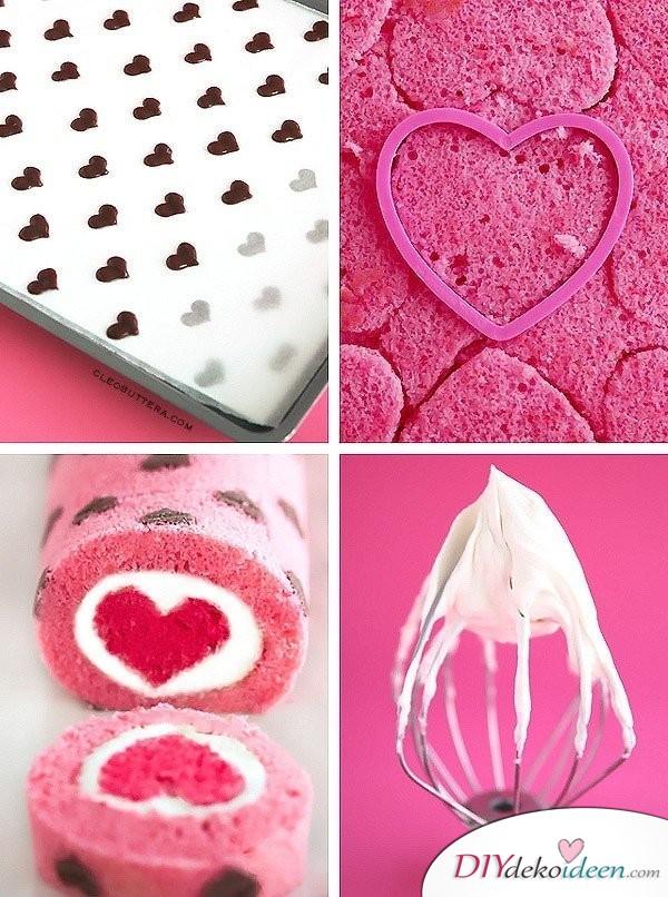Mit Herzchen gefüllte Biskuitrolle, wenn du ein wirklich besonderes Valentinstag Kuchen Rezept suchst