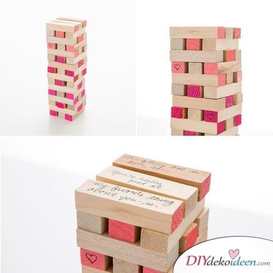 Liebes-Jenga, die beste Valentinstagsgeschenke für Männer zum Selbermachen Idee