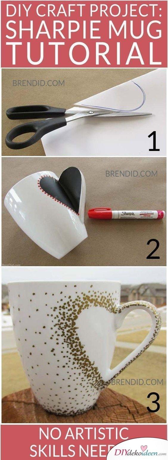 Valentinstag Geschenk für Freundin – verzierte Kaffeetasse