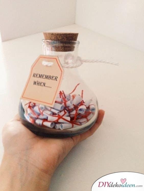 Erinnerungsflasche - Valentinstag Geschenke selber machen